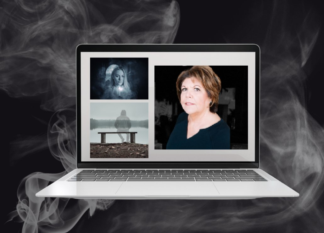 computer screen surrounded by spirit smoke shows ghost whisperer Mary Ann on screen for live Zoom spirit education events