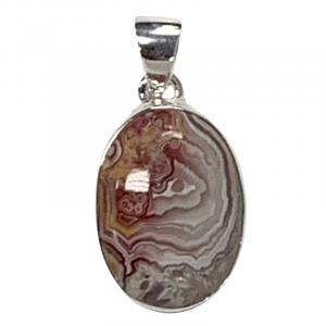 Crazy lace agate oval pendant
