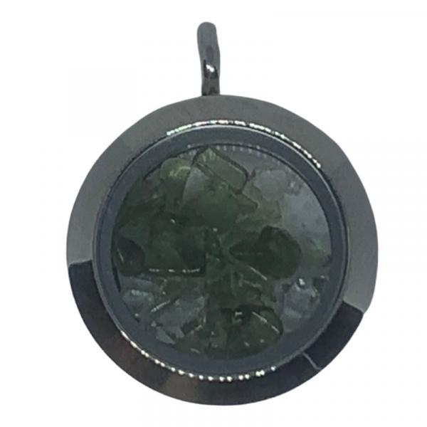 Moldavite Herkimer Diamond Sterling Pendant
